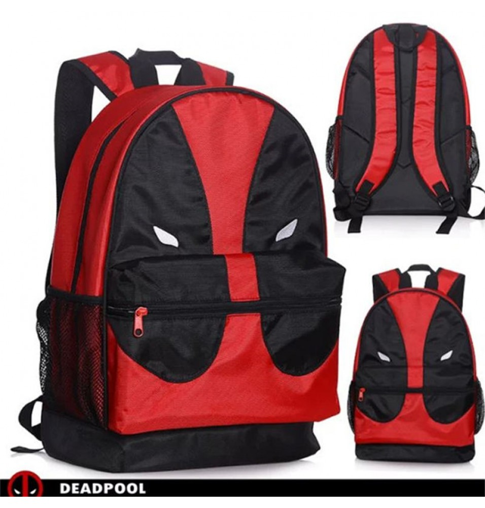 Marvel Deadpool Face Mesh Pocket Backpack School Book Bag