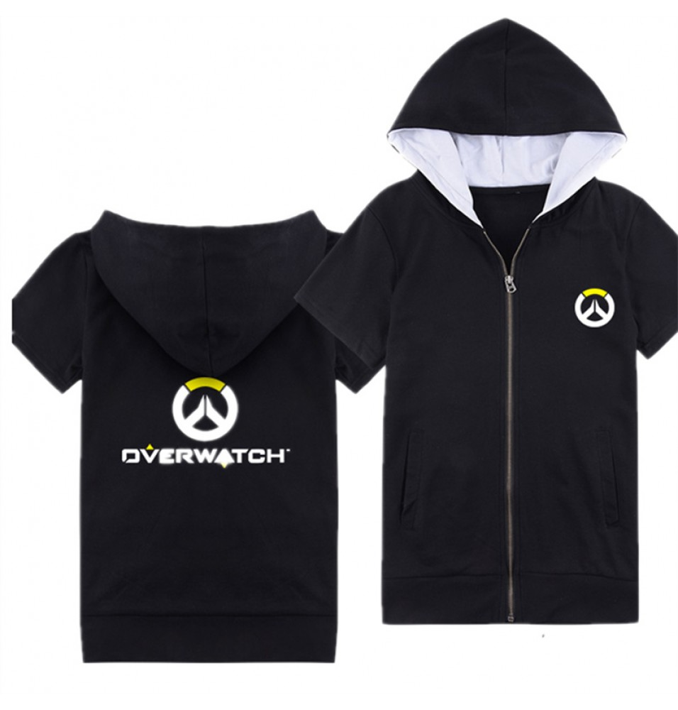 Overwatch Icon Logo Short Sleeve Zipper Hoodies