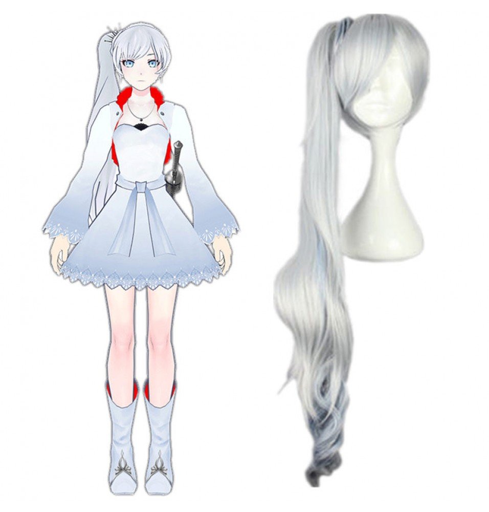 RWBY White Trailer Weiss Schnee Long White Ponytail Cosplay Wig