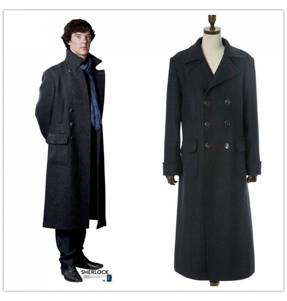Sherlock Cosplay Holmes Wool Long Coat Jacket  Costume