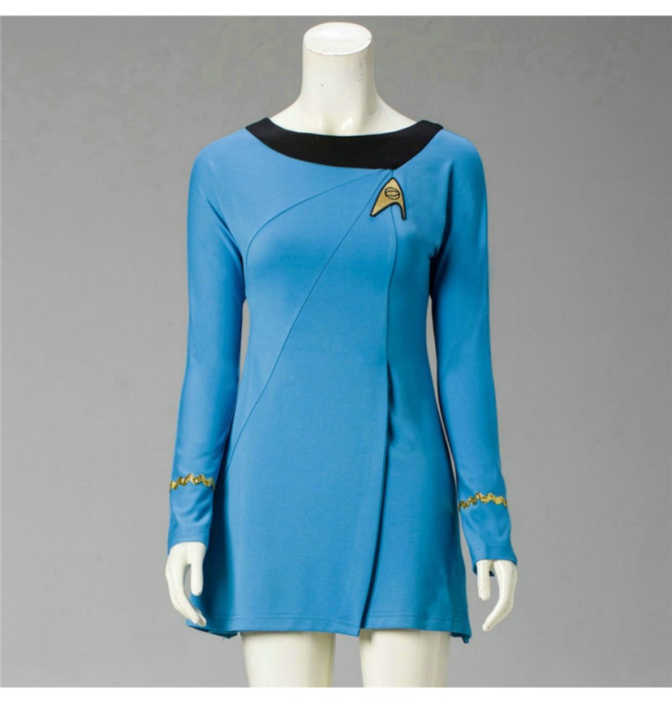 Star Trek Cosplay Female Duty TOS Blue Uniform Dress Costume