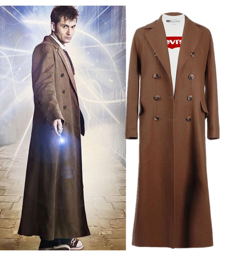 Tenth Doctor Who 10th Doctor Brown Long Wool Winter Coat Cosplay Costume