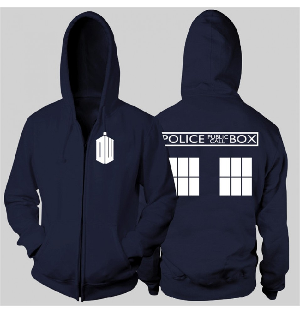 Timecosplay Doctor Who POLICE BOX Zipper Hoodies