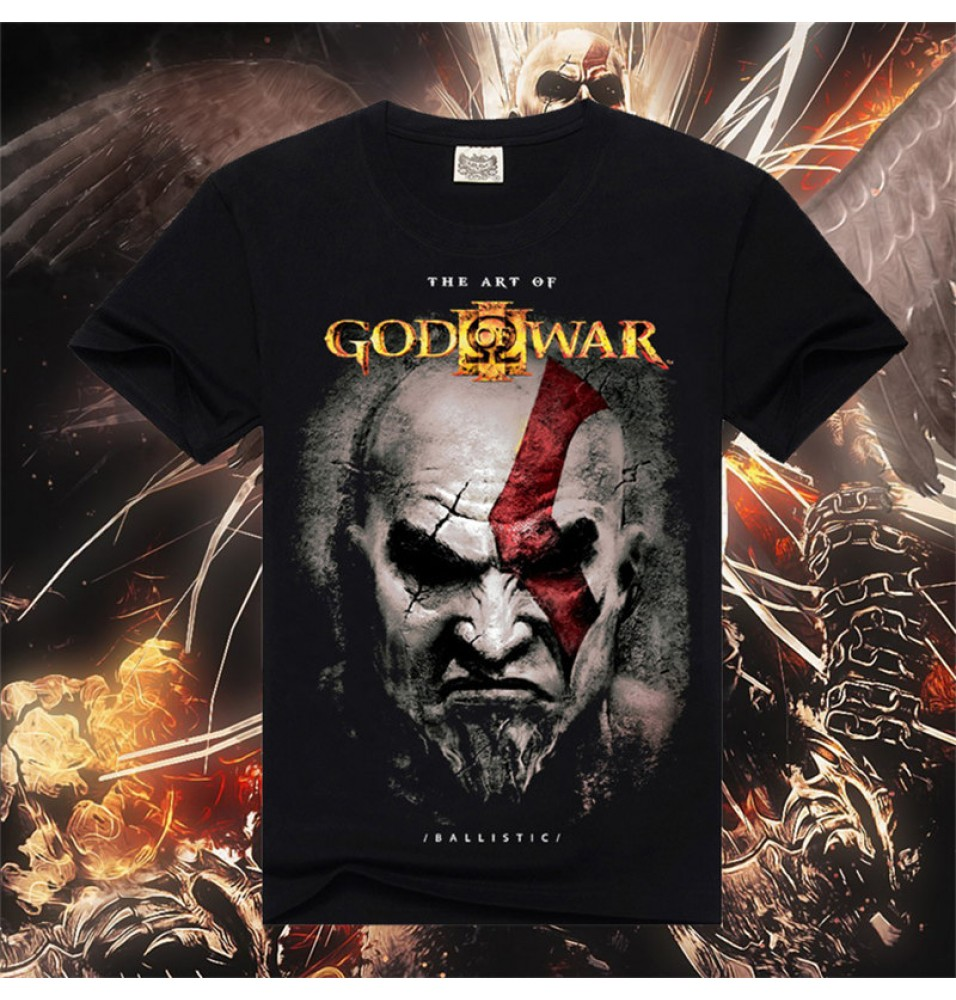 Timecosplay God Of War Kratos  Poster Men Short Sleeve Tee Shirt
