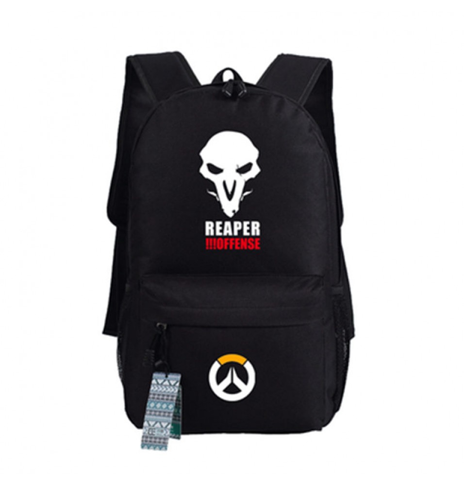 Timecosplay Overwatch Reaper Icon logo Backpack School Bag