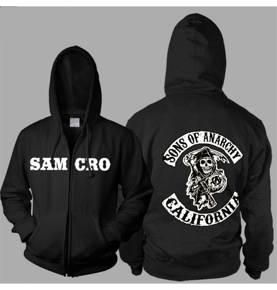 TimeCosplay SOA Sons Of Anarchy Samcro Icon Men Zipper Hoodies