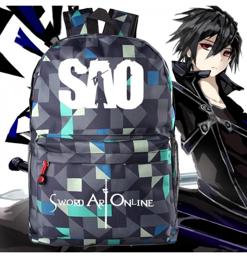 Timecosplay Sword Art Online lattice Schoolbag Backpack