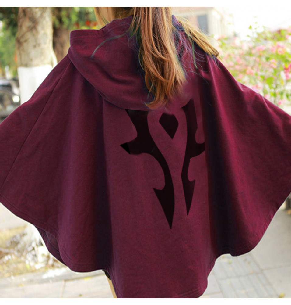 WOW World Of Warcraft Cosplay The Horde Logo Tribal Cloak Dress Pullover Hoodie