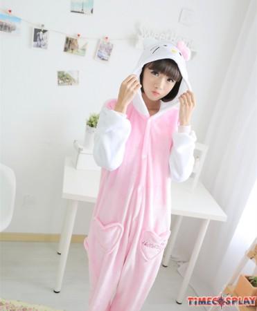 Hello Kitty Onesies Pajamas Unisex Flannel Kigurumi Onesies Winter Animal Pajamas For Adults