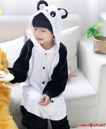 Panda Onesies Pajamas Flannel Children Kigurumi Onesies Winter Animal Pajamas For Kids