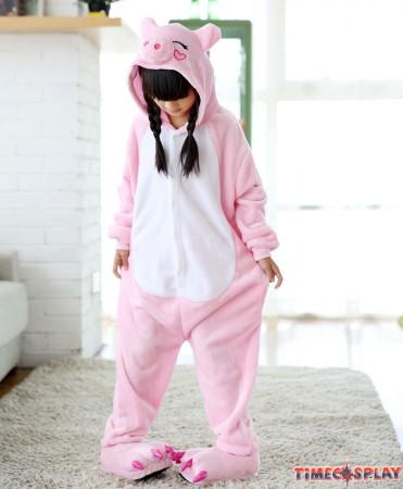 Pink Pig Onesies Pajamas Flannel Children Kigurumi Onesies Winter Animal Pajamas For Kids