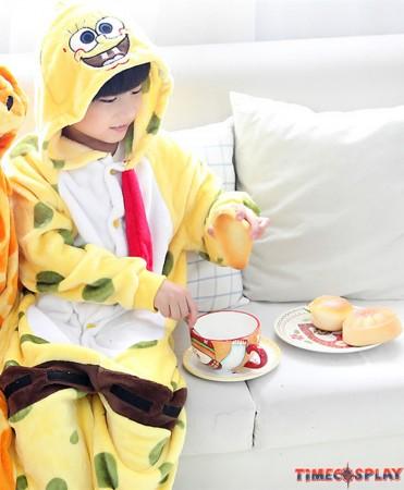 SpongeBob Onesies Pajamas Flannel Children Kigurumi Onesies Winter Animal Pajamas For Kids