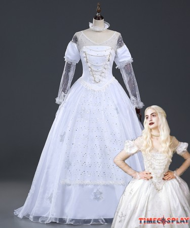 Alice In Wonderland Cosplay White Queen Dress Costume