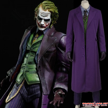 Dark Knight Joker Cosplay Set Gabardine Trench Coat Costume