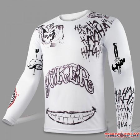 Cool Men Compression DC Suicide Squad Joker Sport Tight Tops white Long T-shirt