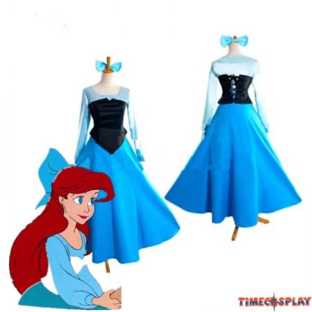 Disney Little Mermaid Ariel Princess Blue Dress Party Costume Cosplay