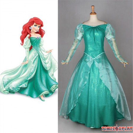 Disney Little Mermaid Ariel Princess Dress Party Costume Cosplay