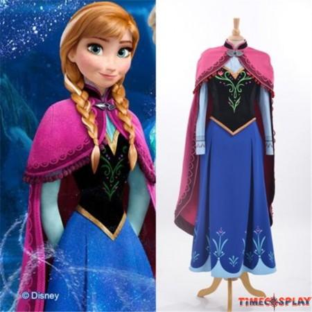 Disney Princess Frozen Anna Cloak Dress Cosplay Costume Deluxe Version