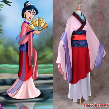 Disney Princess Hua Mulan Cosplay Costume Halloween Party Dress