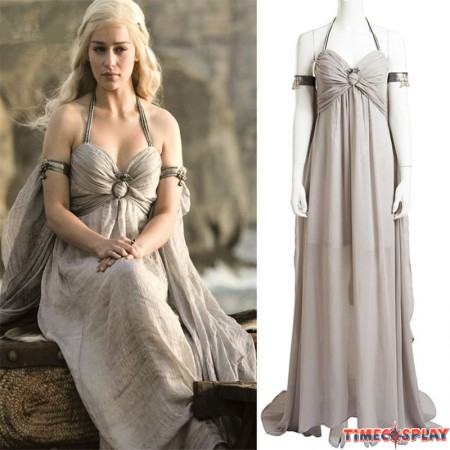 Game of Thrones Cosplay Daenerys Targaryen Mother of Dragons Grey Dress Original Costume -Deluxe