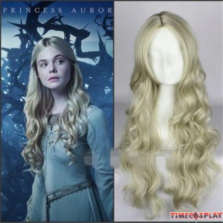 Maleficent Princess Aurora Wig Long Wavy Ash Blonde Cosplay Wig