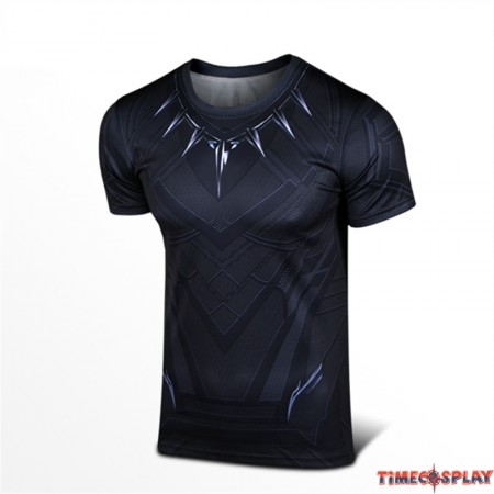 Marvel Captain America Civil War Black Panther Cosplay Sport Tight Tops Compression Cool T-shirt
