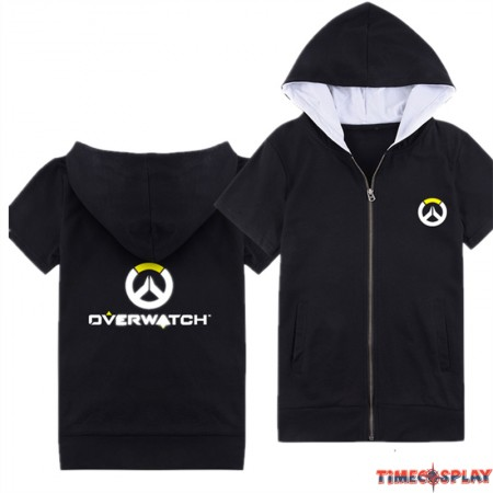 Overwatch Icon Logo Short Sleeve Zipper Hoodies