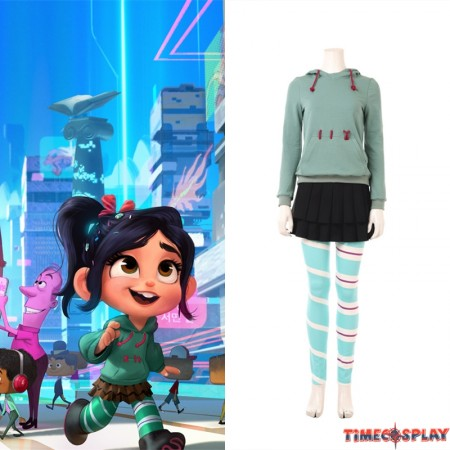 Ralph Breaks the Internet Wreck-It Ralph 2 Vanellope von Schweetz Cosplay Costume