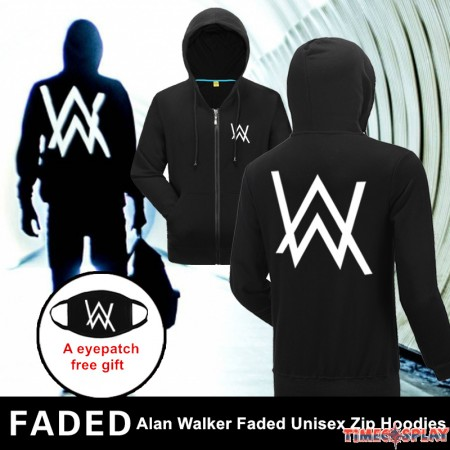 Rock Star Alan Walker Logo Unisex Faded Zip Hoodies