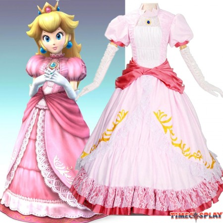 Super Mario Princess Peach Pink Dress Cosplay Party Costume