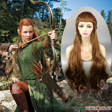 The Hobbit Cosplay Lord of the Rings Elf Tauriel Brown Wavy Wigs