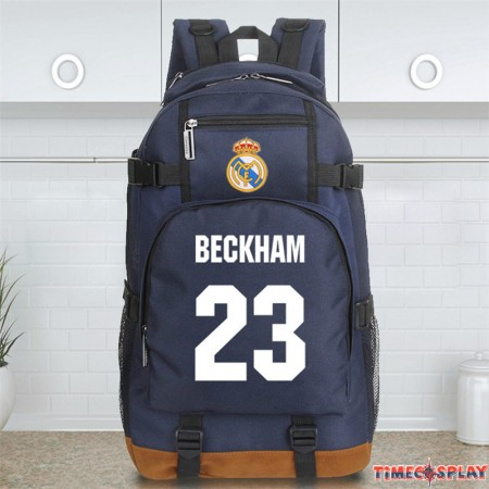 Timecosplay Real Madrid David Beckham 23 Schoolbag Backpack