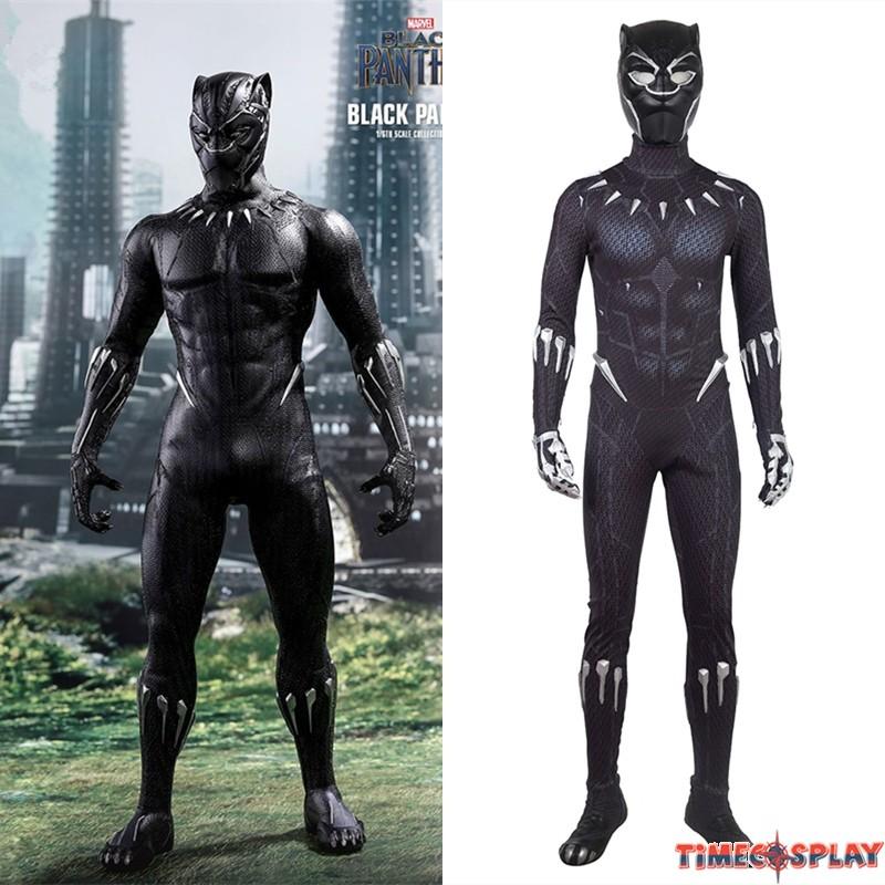 2018 Black Panther Cosplay Costume Black Jumpsuit