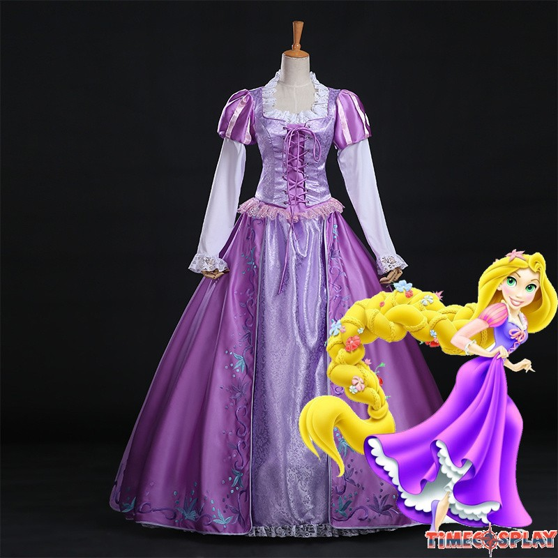 & Disney Tangled Rapunzel Princess Dress Halloween Cosplay Costume