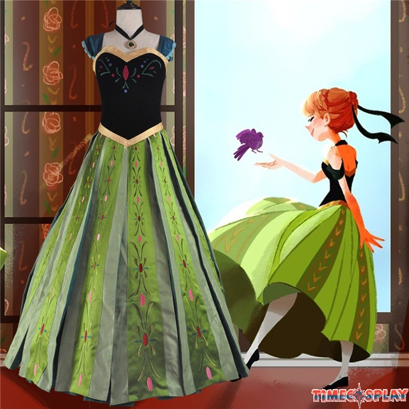 Superb Disney Frozen Anna Coronation Dress Cosplay Costumes