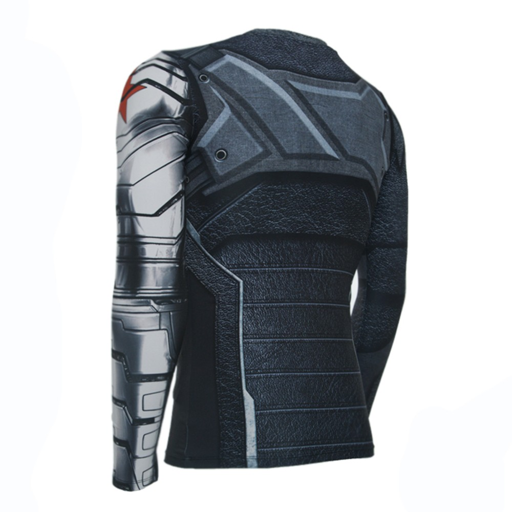 Captain America 3 Winter Soldier 3D Cool Long Sleeve T-Shirt
