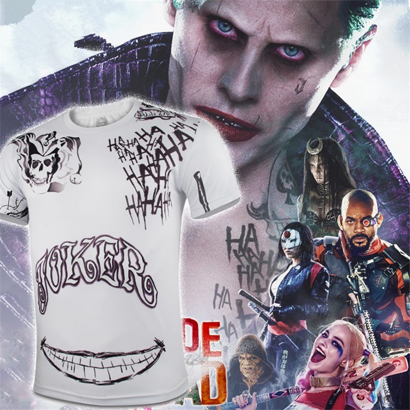 Cool Men Compression DC Suicide Squad joker Cosplay Sport Tight Tops white T-shirt
