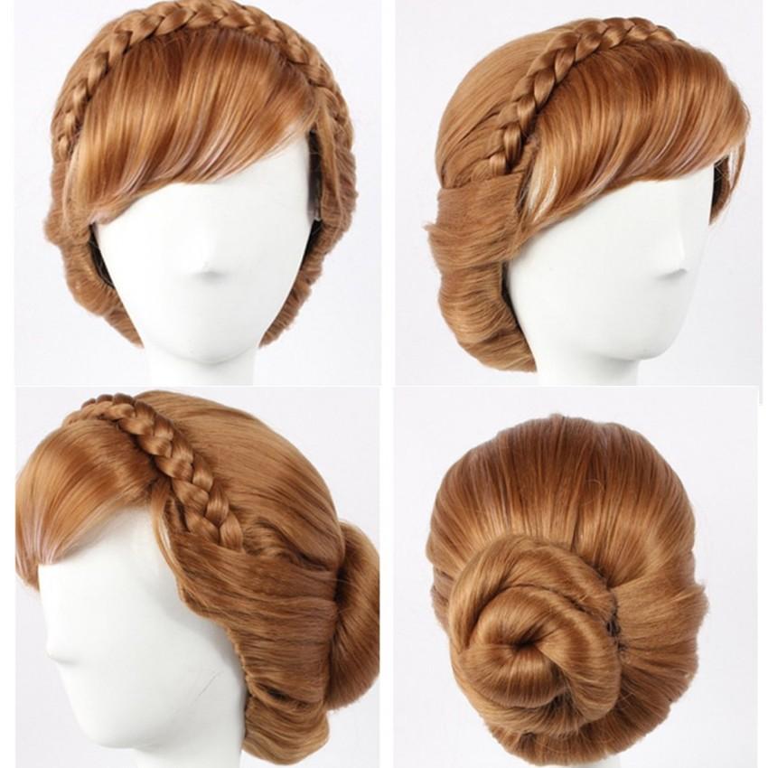 Disney Movie Frozen Princess Anna Cosplay Updo Wigs