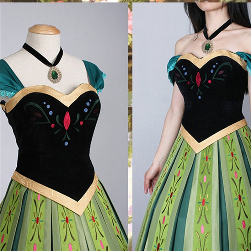 Disney Frozen Anna Coronation Dress Cosplay Costumes