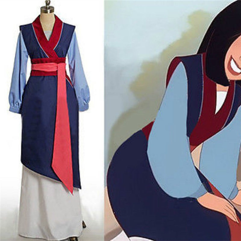 Disney Hua Mulan Blue Dress Princess Cosplay Halloween Costumes