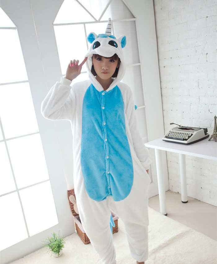 Unicorn Onesies Pajamas Unisex Flannel Kigurumi Onesies Winter Animal Pajamas For Adults