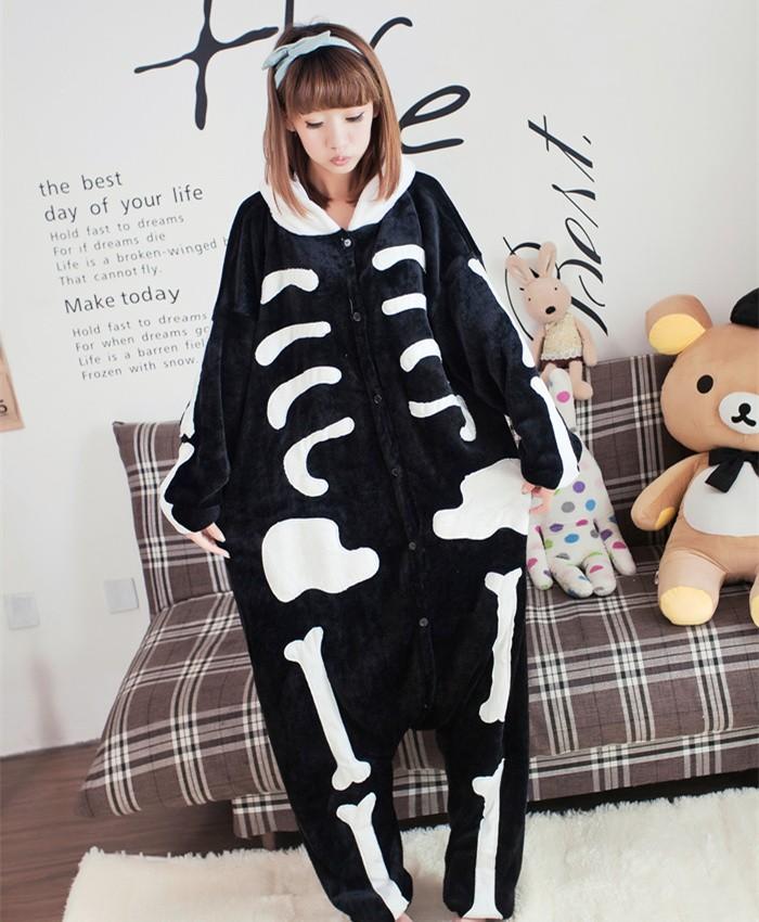 Skull Skeleton Onesies Pajamas Unisex Flannel Kigurumi Onesies Winter Animal Pajamas For Adults