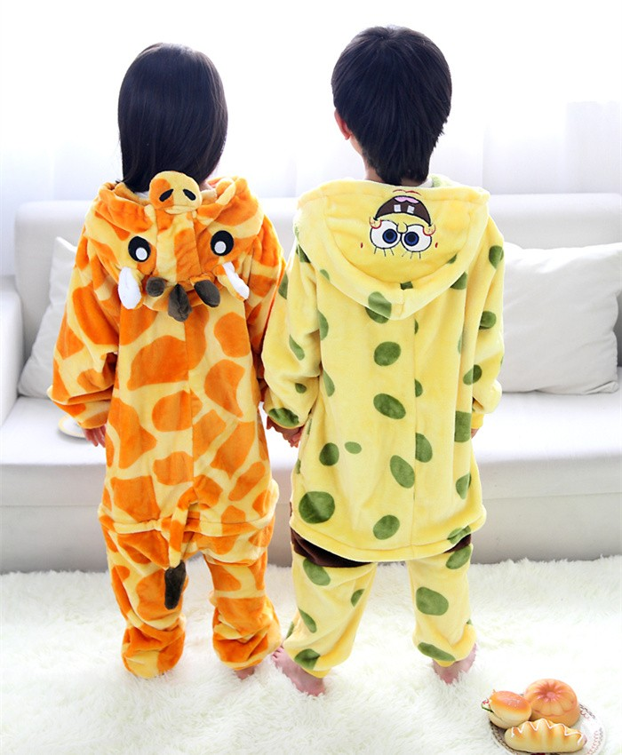 SpongeBob Onesies Pajamas Flannel Children Kigurumi Onesies Winter Animal Pajamas For Kids