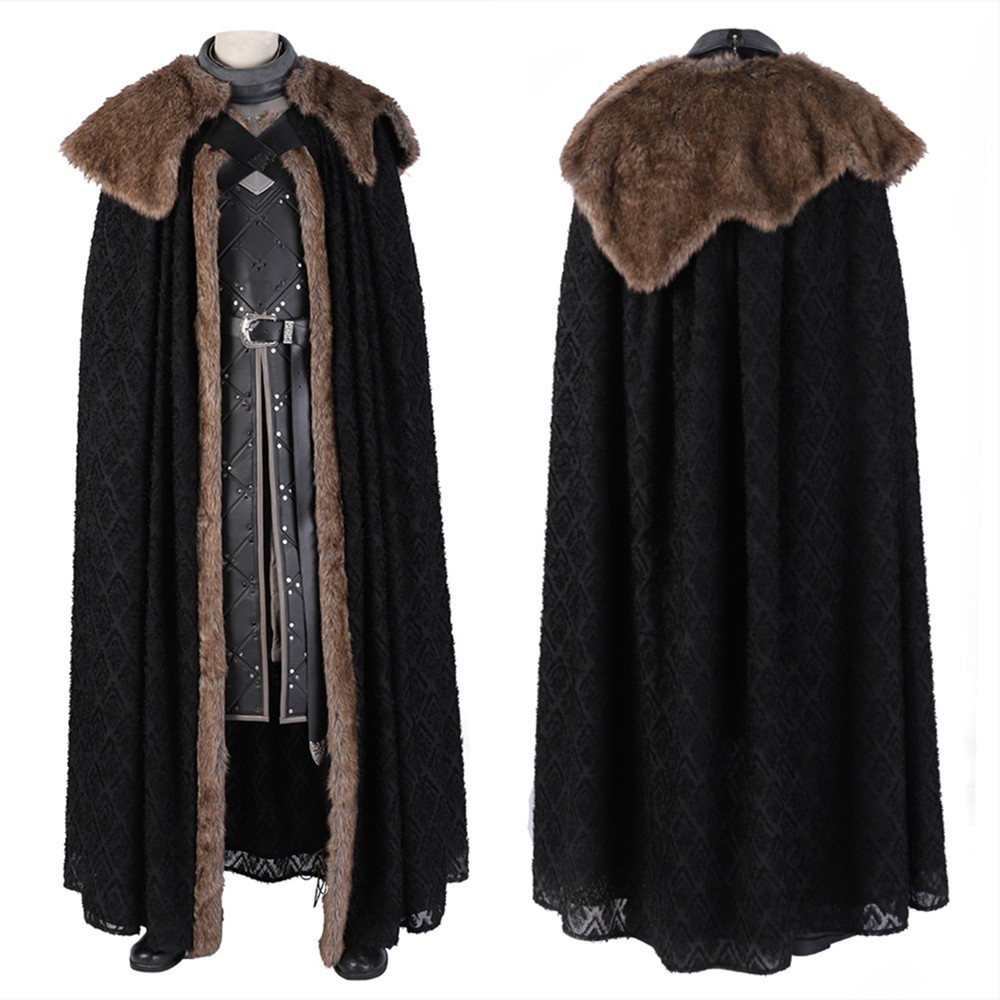 Game of Thrones 8 Jon Snow Cosplay Costume Outfit Deluxe Version