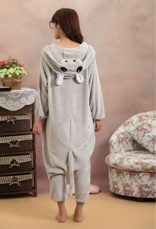 Grey Hippo Onesie Kigurumi Pajamas For Adults
