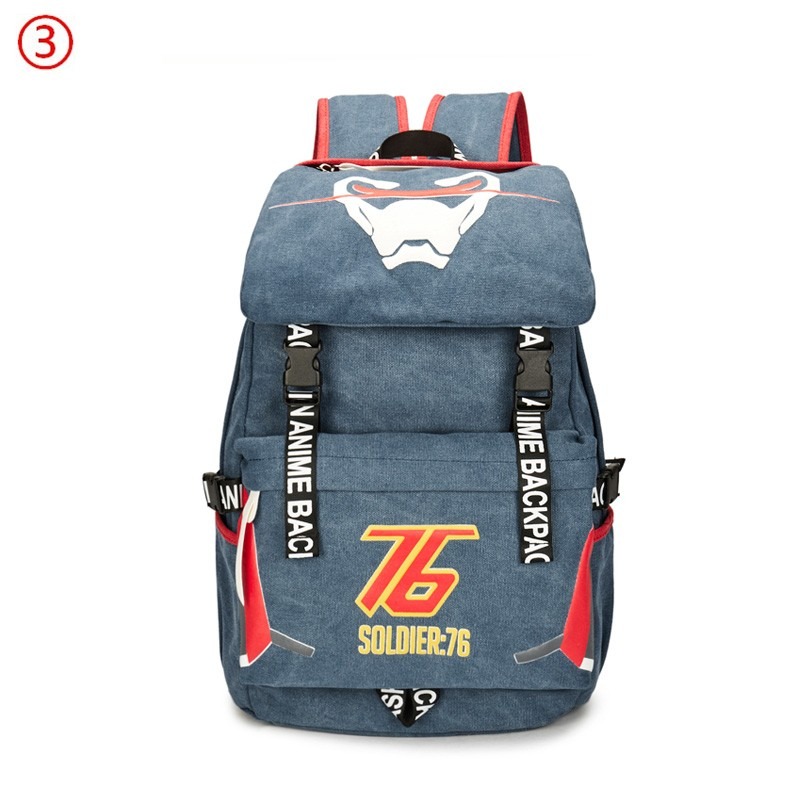 Overwatch Icon Dva Soldier 76 Genji Reaper Backpacks Schoolbags