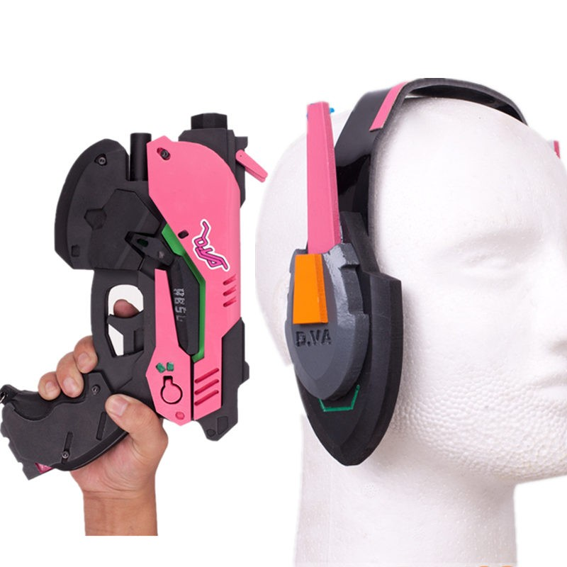 Overwatch OW D.Va DVa Hana Song Cosplay Gun Headset Weapon Prop