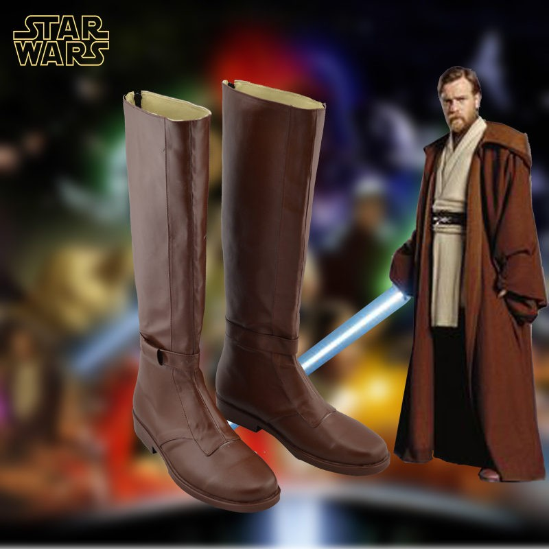 Star Wars Jedi Obi-Wan Kenobi Cosplay Shoes Brown Boots Custom Made