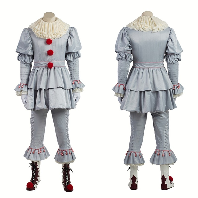 Stephen King's It Pennywise Clown Cosplay Costume Deluxe Outfit