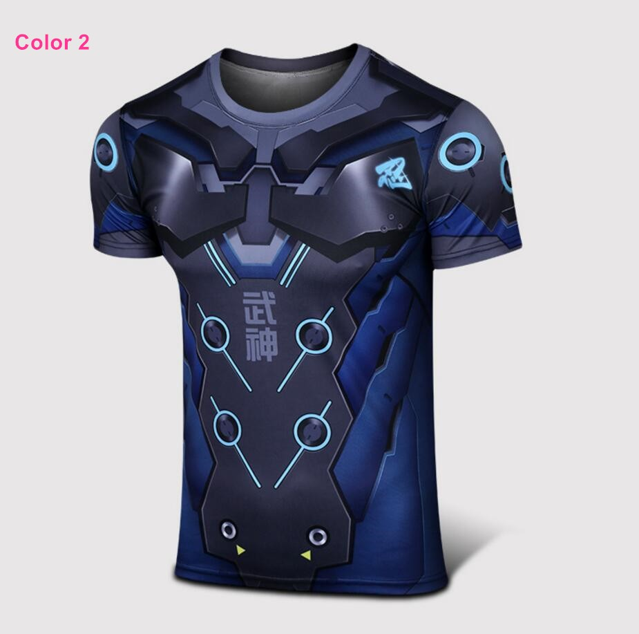 Timecosplay Overwatch Hero Genji Cosplay Sport Tight  3D Tee Shirt